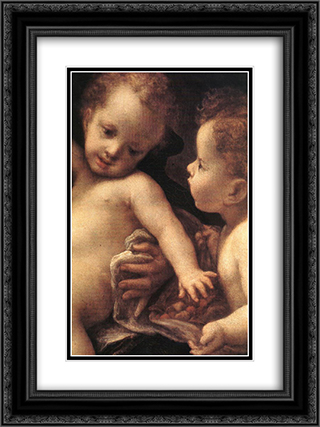 Virgin and Child with an Angel (detail) 18x24 Black or Gold Ornate Framed and Double Matted Art Print by Correggio