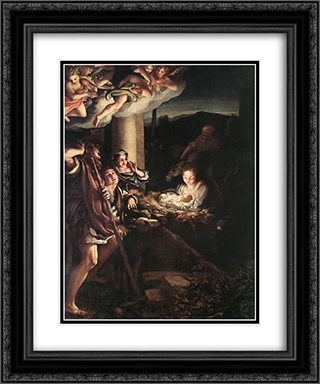 Nativity (Holy Night) 20x24 Black or Gold Ornate Framed and Double Matted Art Print by Correggio