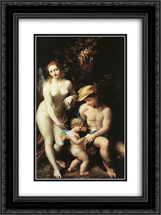 The Education of Cupid 18x24 Black or Gold Ornate Framed and Double Matted Art Print by Correggio