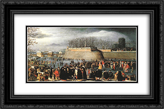 Skating during Carnival 24x16 Black or Gold Ornate Framed and Double Matted Art Print by Denys van Alsloot