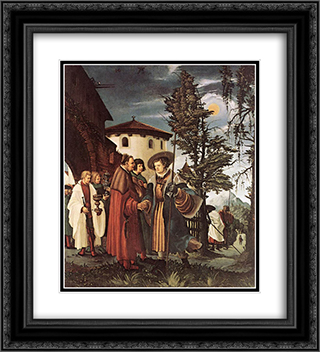 St. Florian Taking Leave Of The Monastery 20x22 Black or Gold Ornate Framed and Double Matted Art Print by Denys van Alsloot