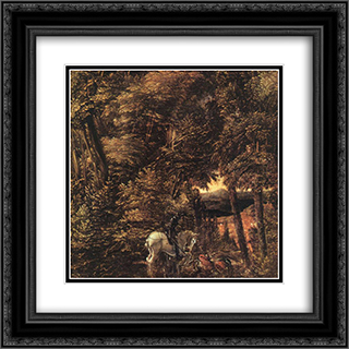 Saint George In The Forest 20x20 Black or Gold Ornate Framed and Double Matted Art Print by Denys van Alsloot
