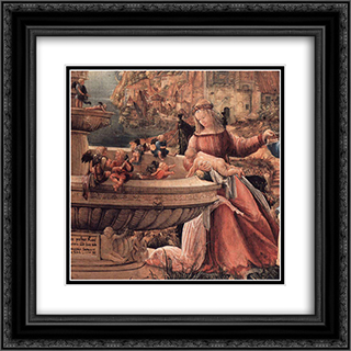 Rest On The Flight Into Egypt (detail) 20x20 Black or Gold Ornate Framed and Double Matted Art Print by Denys van Alsloot