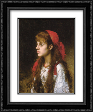 A Russian Beauty 20x24 Black or Gold Ornate Framed and Double Matted Art Print by Alexei Alexeivich Harlamoff