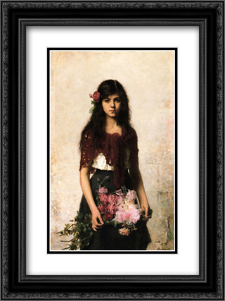 The Flower Seller 18x24 Black or Gold Ornate Framed and Double Matted Art Print by Alexei Alexeivich Harlamoff