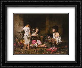 The Flower Girls 24x20 Black or Gold Ornate Framed and Double Matted Art Print by Alexei Alexeivich Harlamoff