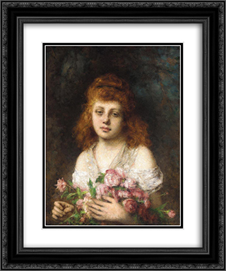 Auburn'haired Beauty with Bouqet of Roses 20x24 Black or Gold Ornate Framed and Double Matted Art Print by Alexei Alexeivich Harlamoff