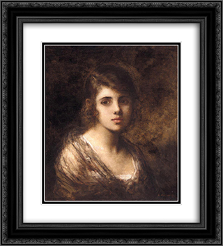 Young Brunette 20x22 Black or Gold Ornate Framed and Double Matted Art Print by Alexei Alexeivich Harlamoff