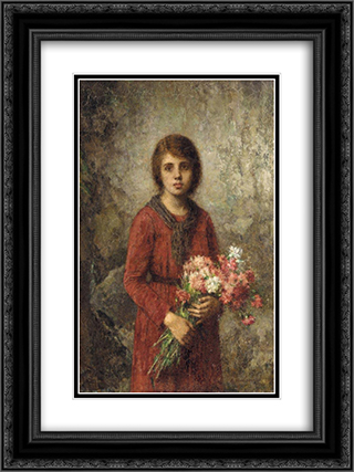 The Artist's Daughter 18x24 Black or Gold Ornate Framed and Double Matted Art Print by Alexei Alexeivich Harlamoff
