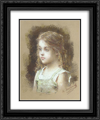Young Girl in a Green Tunic 20x24 Black or Gold Ornate Framed and Double Matted Art Print by Alexei Alexeivich Harlamoff