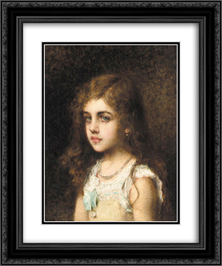 Young Girl with a Turquoise Bow 20x24 Black or Gold Ornate Framed and Double Matted Art Print by Alexei Alexeivich Harlamoff