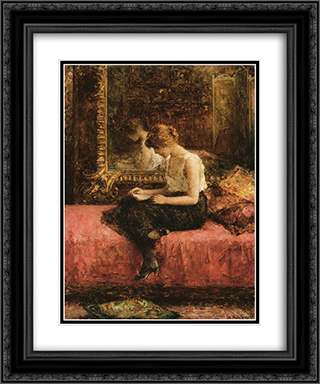 Literary Pursuits of a Young Lady 20x24 Black or Gold Ornate Framed and Double Matted Art Print by Alexei Alexeivich Harlamoff