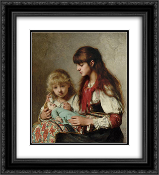 Sisters 20x22 Black or Gold Ornate Framed and Double Matted Art Print by Alexei Alexeivich Harlamoff