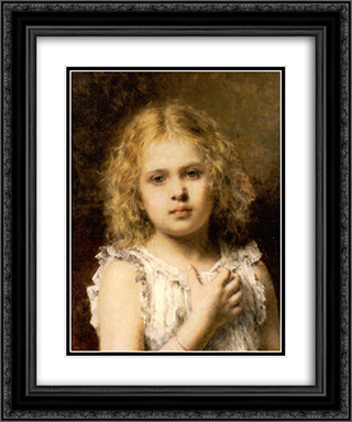 A Young Beauty 20x24 Black or Gold Ornate Framed and Double Matted Art Print by Alexei Alexeivich Harlamoff
