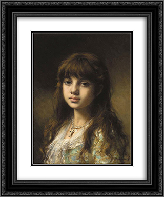 Little Girl 20x24 Black or Gold Ornate Framed and Double Matted Art Print by Alexei Alexeivich Harlamoff