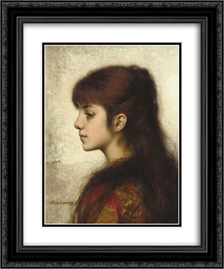 Contemplation 20x24 Black or Gold Ornate Framed and Double Matted Art Print by Alexei Alexeivich Harlamoff