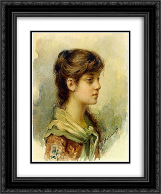The Artist's Daughter 20x24 Black or Gold Ornate Framed and Double Matted Art Print by Alexei Alexeivich Harlamoff