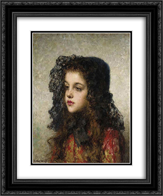 Little Girl with Head'dress 20x24 Black or Gold Ornate Framed and Double Matted Art Print by Alexei Alexeivich Harlamoff