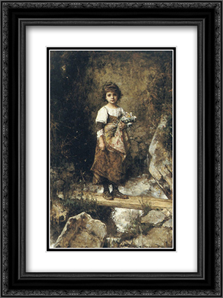 A Peasant Girl on a Footbridge 18x24 Black or Gold Ornate Framed and Double Matted Art Print by Alexei Alexeivich Harlamoff