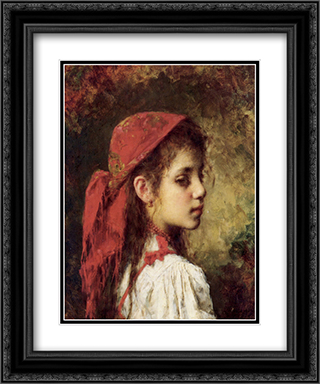 Portrait of a Young Girl in a Red Kerchief 20x24 Black or Gold Ornate Framed and Double Matted Art Print by Alexei Alexeivich Harlamoff