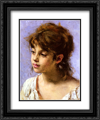 Portrait of a Peasant Girl 20x24 Black or Gold Ornate Framed and Double Matted Art Print by Alexei Alexeivich Harlamoff