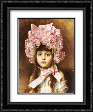 The Pink Bonnet 20x24 Black or Gold Ornate Framed and Double Matted Art Print by Alexei Alexeivich Harlamoff