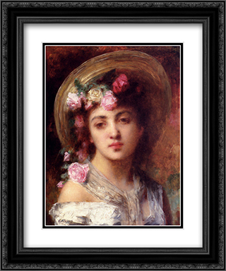 The Flower Girl 20x24 Black or Gold Ornate Framed and Double Matted Art Print by Alexei Alexeivich Harlamoff