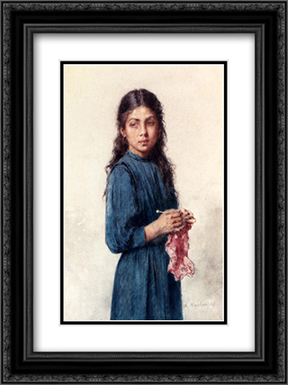 A Young Girl Knitting 18x24 Black or Gold Ornate Framed and Double Matted Art Print by Alexei Alexeivich Harlamoff