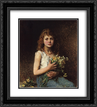Girl with Spring Flowers 20x22 Black or Gold Ornate Framed and Double Matted Art Print by Alexei Alexeivich Harlamoff