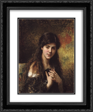 Dark Haired Beauties 20x24 Black or Gold Ornate Framed and Double Matted Art Print by Alexei Alexeivich Harlamoff
