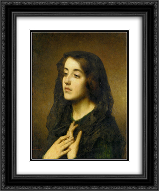 Modesty 20x24 Black or Gold Ornate Framed and Double Matted Art Print by Alexei Alexeivich Harlamoff