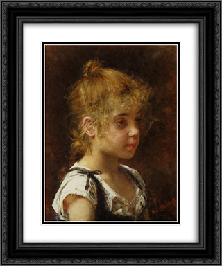Portrait of a Young Girl 20x24 Black or Gold Ornate Framed and Double Matted Art Print by Alexei Alexeivich Harlamoff
