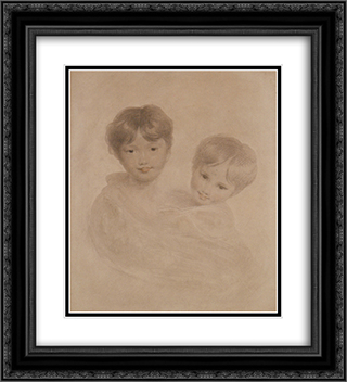 Portrait Sketch of Two Boys ' Possibly George 3rd Marquees Townshend and his Younger Brother Charles 20x22 Black or Gold Ornate Framed and Double Matted Art Print by Sir Thomas Lawrence