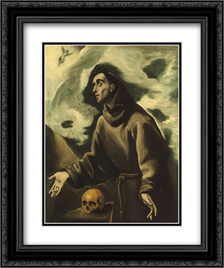 Saint Francis receiving the Stigmata 20x24 Black or Gold Ornate Framed and Double Matted Art Print by El Greco