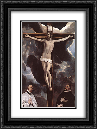 Christ on the Cross Adored by Donors 18x24 Black or Gold Ornate Framed and Double Matted Art Print by El Greco