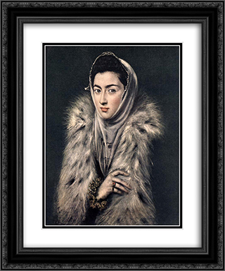Lady with a Fur 20x24 Black or Gold Ornate Framed and Double Matted Art Print by El Greco