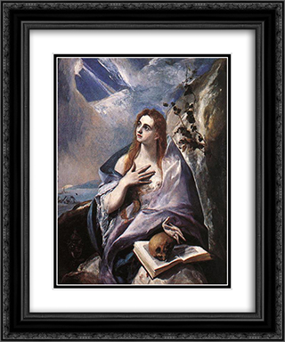 The Magdalene 20x24 Black or Gold Ornate Framed and Double Matted Art Print by El Greco