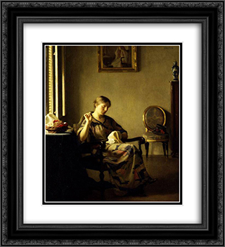 Woman Sewing 20x22 Black or Gold Ornate Framed and Double Matted Art Print by William McGregor Paxton