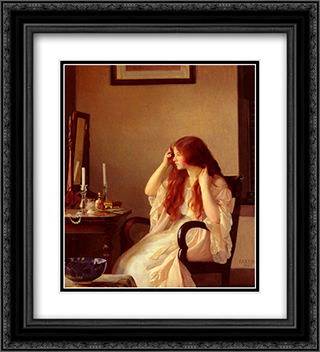 Girl Combing Her Hair 20x22 Black or Gold Ornate Framed and Double Matted Art Print by William McGregor Paxton