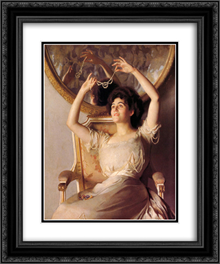 The String of Pearls 20x24 Black or Gold Ornate Framed and Double Matted Art Print by William McGregor Paxton