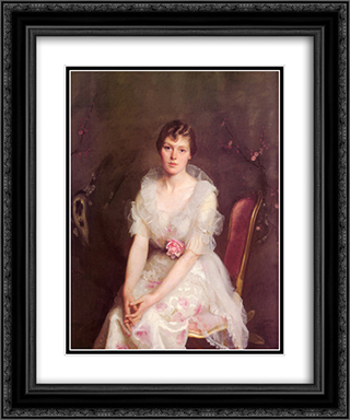 Portrait of Louise Converse 20x24 Black or Gold Ornate Framed and Double Matted Art Print by William McGregor Paxton