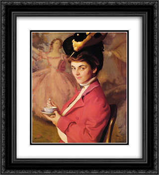 Cherry 20x22 Black or Gold Ornate Framed and Double Matted Art Print by William McGregor Paxton