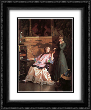 The New Necklace 20x24 Black or Gold Ornate Framed and Double Matted Art Print by William McGregor Paxton