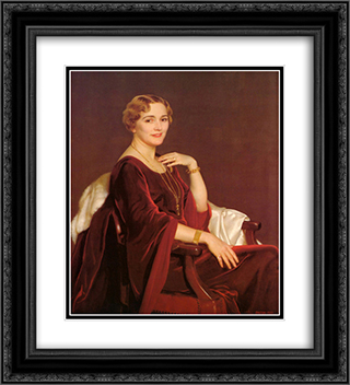 Portrait of Mrs. Charles Frederic Toppan 20x22 Black or Gold Ornate Framed and Double Matted Art Print by William McGregor Paxton