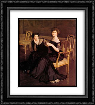The Sisters 20x22 Black or Gold Ornate Framed and Double Matted Art Print by William McGregor Paxton