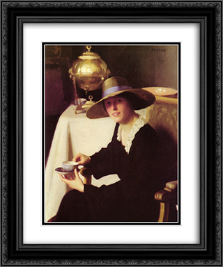 The Samovar 20x24 Black or Gold Ornate Framed and Double Matted Art Print by William McGregor Paxton