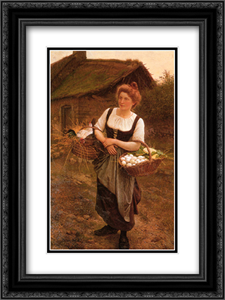 La Fille De Ferme 18x24 Black or Gold Ornate Framed and Double Matted Art Print by Gustave Boulanger