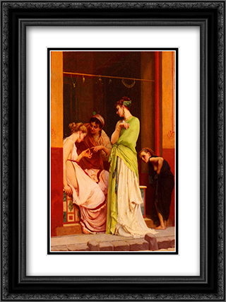 A Seller of Jewels in Pompeii 18x24 Black or Gold Ornate Framed and Double Matted Art Print by Gustave Boulanger
