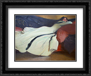 Repose 24x20 Black or Gold Ornate Framed and Double Matted Art Print by John White Alexander