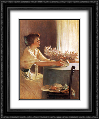 A Meadow Flower 20x24 Black or Gold Ornate Framed and Double Matted Art Print by John White Alexander